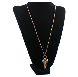 N-5380 Bohemian vintage style gold silver plated alloy cross green beads metal long tassel white pearl pendants necklace earring