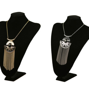 N-5386 European style gold/silver plated alloy balck stone long pendnat tasel necklace