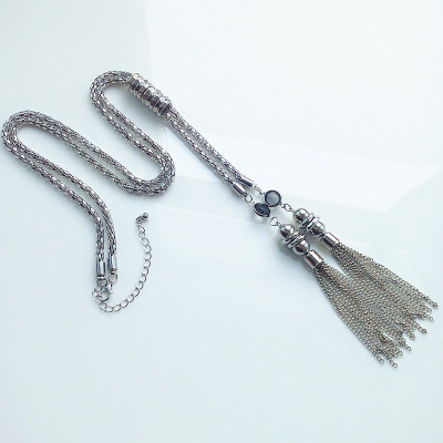 N-5384 European style silver plated alloy long snake tassel necklaces