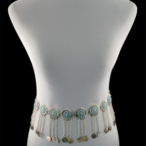 N-5387 vintage style turkish gypsy silver plated alloy coin belly body Chain