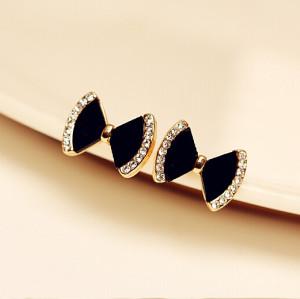 E-3430 Bow fashion earrings new Korean female lovely diamond earrings hypoallergenic jewelry