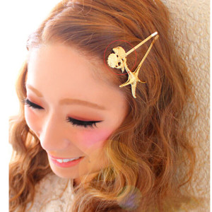 F-0225 fashion style silver gold alloy starfish conch charm hair clips hair pins