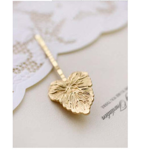 F-0224 fashion style gold plated alloy leaf charm hair clips hair pins
