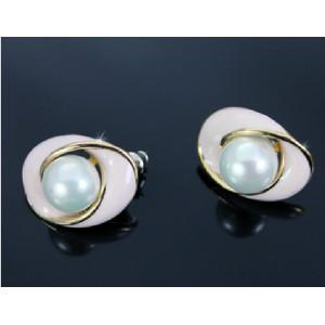 E-3438 Korea style gold plated alloy pearl shell ellipse stud earrings
