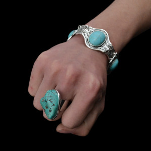 B-0473 Turquoise bracelet exaggerated wild fashion for men and women bracelets shaped gemstone bracelet