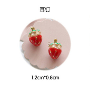 E-3431 New Fashion Design Korea style gold plated Cute Red Strawberry Stud Earrings for Women Costume Jewelry