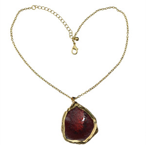 N-5399 European style gold plated round natural stone long chain necklace