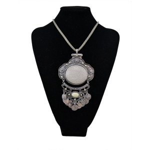 N-5398 New arrival Bohemian style silver plated gemstone  long chain round pendant necklace