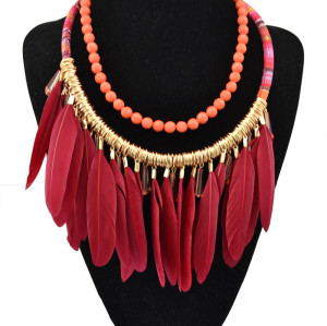 N-5402 Spanish Bull Crystal Resin Beads Feather Tassel Pendant Braided Rope Chain Earrings Necklace Jewelry Set