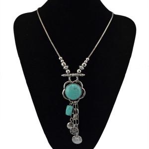 N-5421  Bohemian Tibetan silver plated alloy turquoise charm choker necklace turkish boho