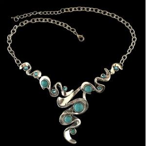 N-5407 Bohemian Tibetan silver plated turquoise rhinestone gem stone pendant necklace