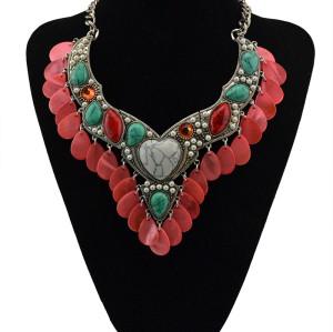 N-5410  PROMOTION Love Heart Turquoise Stone Pendant Tibetan Silver vintage necklace chain fashion Jewelry Bijouterie