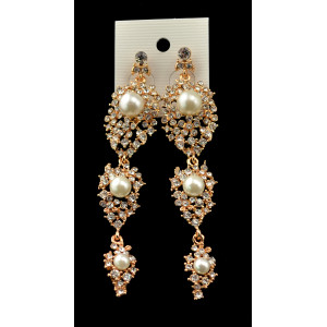 E-3452 fashion style gold plated rhinestone pearl dangle earrings