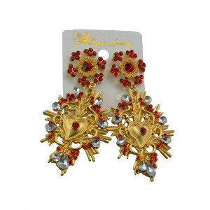 E-3447 fashion style gold plated diamond flower long dangle earrings