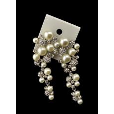 E-3453 Fashion Trendy Gold Silver Statement Long Dangle Pearl Earrings Elegant Rhinestone Crystal Tassel Wedding Earrings
