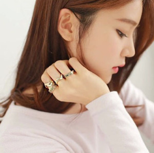 R-1185 vintage style silver plated alloy mix rings designed for men and women 6pcs/sets