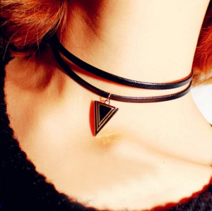 N-5408 Punk style triangular double leather cord necklace clavicle chain  simple wild necklace
