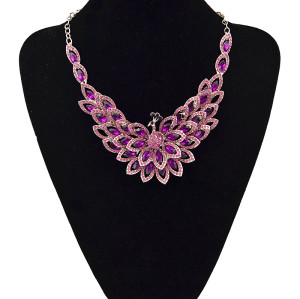 N-5422  Exaggeration Fashion Crystal Peacock Necklace Women Gun Black Plated Rhinestone Peacock Pendant Necklace Earrings Jewelry Set