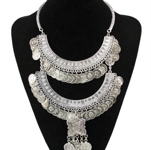 N-5415  Bohemian Tibetan silver plated Coin Tassels Necklace Turkish Boho