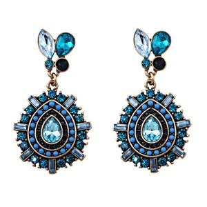 E-3449 Bohemian vintage women jewelry bronze plated charm blue crystal resin big flower long dangle earrings