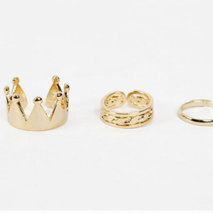 R-1198 fashion European ring golden/silver plated beauty Bow Cross Letter Ok Eight V Shape Rings