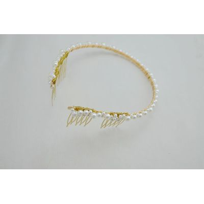 F-0233 fashion style gold plated alloy pearl headband fashion golden hair jewelry