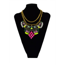 N-5427 European style vitnage silver gold clear colorful crystal rhinestone flower statement shourouk double chain necklace