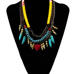 N-5436 Bohemian style vintage colorful turquoise leather bead double chain choker heart pendent statement necklace