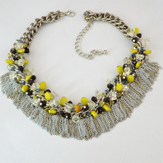 N-5434 fashion style silver plated alloy colorful bead chain tassel choker bib necklace
