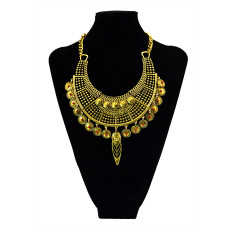 N-5441 Bohemian Women Jewelry Vintage Gold/Silver Chain Alloy Carving Acrylic Flower Round Figure Tassels Hollow Wide Statement Necklaces