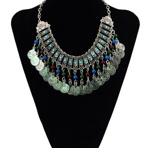 N-5431 Gypsy silver coin tassel colorful beads tassel choker trible statement necklace