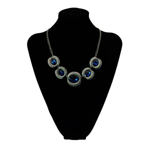 N-5438 Hot New Fashion Vintage Style Blue Black Crystal Alloy Gun Black Plated Statement Necklace Women Jewelry