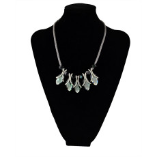N-5449 Vintage style silver plated alloy black leather frosted leaf pendant necklace