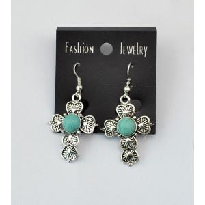 E-3465 New arrival silver plated alloy turquoise flower pendant long dangle earrings