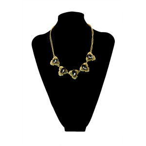 N-5450 European style gun black/gold plated alloy black/blue gemstone pendant necklace