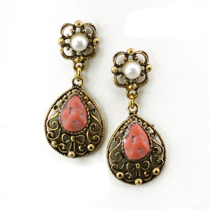 E-3470 Bohemian vintage women jewelry bronze plated charm green crystal resin big flower long dangle earrings