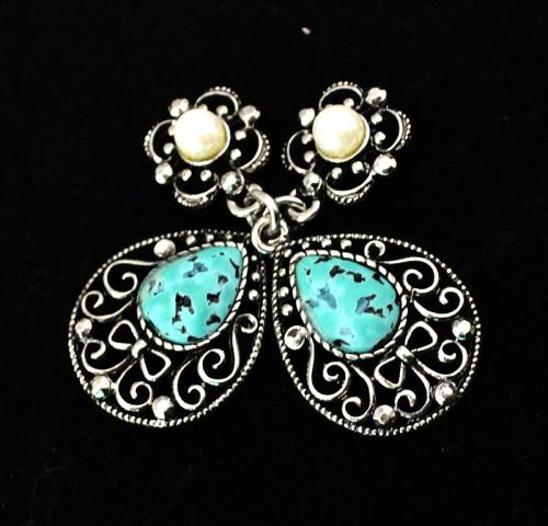 E-3470 Bohemian vintage women jewelry bronze plated charm green crystal resin big flower long dangle earrings