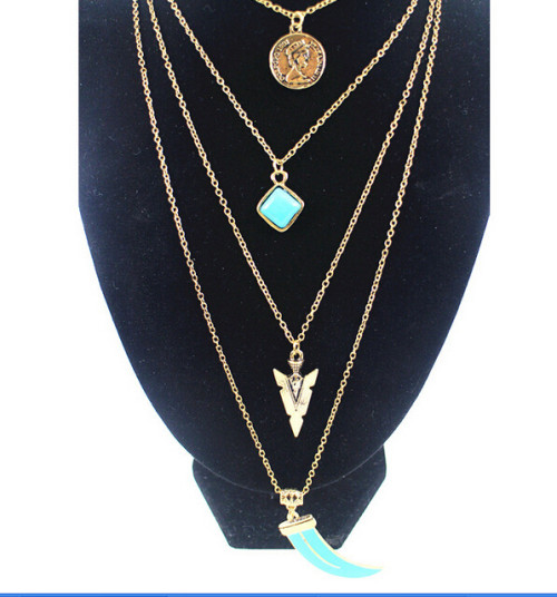 N-5447 European and American retro multi-layer Bohemian gold silver plated long chain turquoise pendant necklace