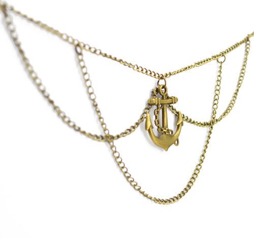 N-5463 Vintage style bronze anchor tassel chain jewelry arm chain body jewelry
