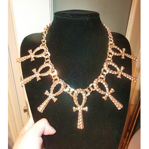 N-5460 2015 European Fashion Punk Style Gold Plated Luxury Exaggerated Cross Tassel Choker Necklace for Women Jewelry Gift