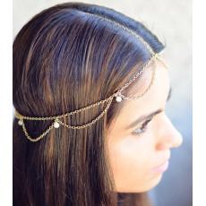 F-0239 Vintage Multilayer Chains Women Bohemian Turquoise Bead Metal Head Chain Piece Forehead Dance Headband Hair Jewelry