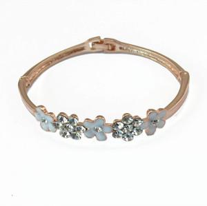 B-0486 Korean gold plated fashion crystal diamond flower heart women bangles