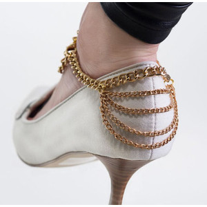 B-0485 Europe Fashion Style Gold Plated Charm Rhinestone Multilayer Chains Tassels Foot Anklets