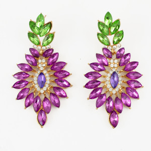 E-3461 New Fashion Women Chunky Crystal Big Drop Flower Dangle Earrings Luxury Artificial Rhinestone Flower Drop Earrings