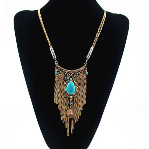 N-5455 Western vintage gold silver plated blue natural stone pendant long tassel Necklace