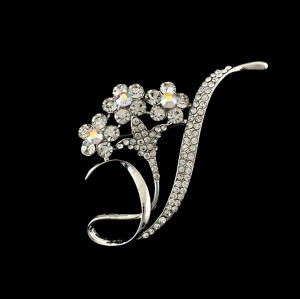 P-0173 fashion style silver plated alloy full rhinestone flower brooch