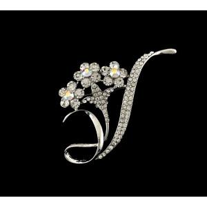 P-0173 fashion style silver plated alloy full rhinestone flower brooch