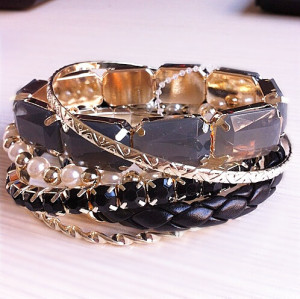 B-0487 Bohemian Ethnic Style Beaded Multi Mash Wild exaggeration Nightclub Jewelry Bangle (6PCS)