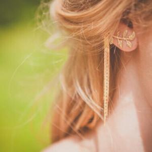 E-3468 Fashion Gold Plated Alloy New Luxury Green Crystal Rhinestone Thread Tassel Dangle Earrings