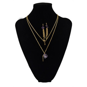 N-5459 Bohemian style silver plated double chain multicolor natural stone pendant necklaces and earrings set